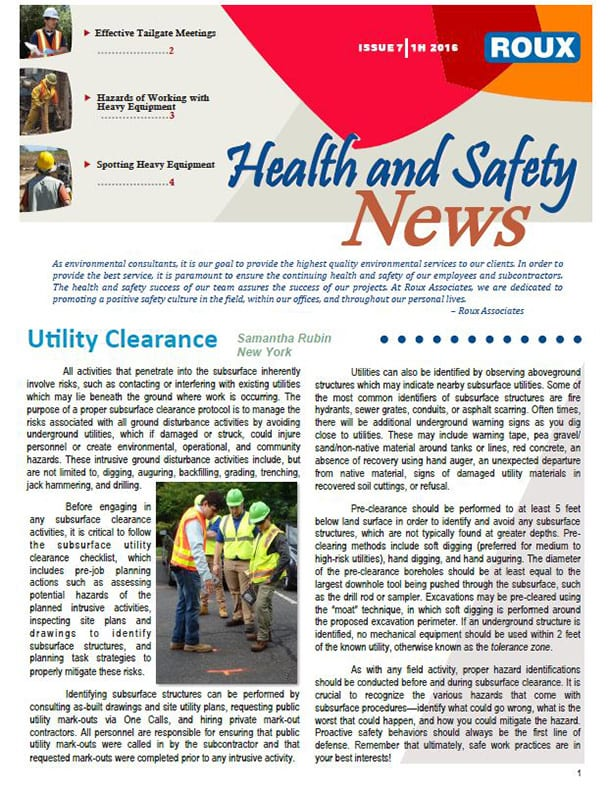 Roux associates health and safety newsletter roux for Health and wellness newsletter template